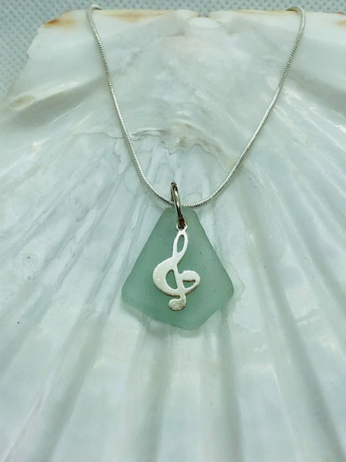 Sea Glass Pendant Necklace with Sterling Silver Musical Clef Charm