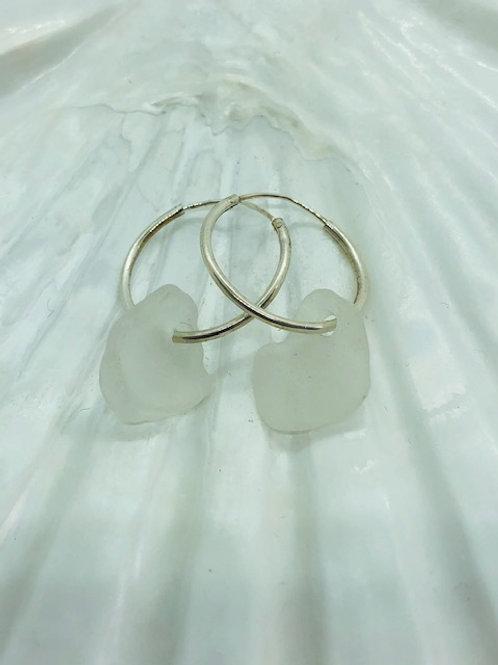 Small Sea Glass Earrings on Sterling Silver Hoops