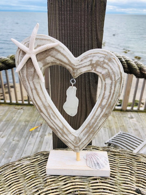 Heart Ornament with Starfish and Sea Glass