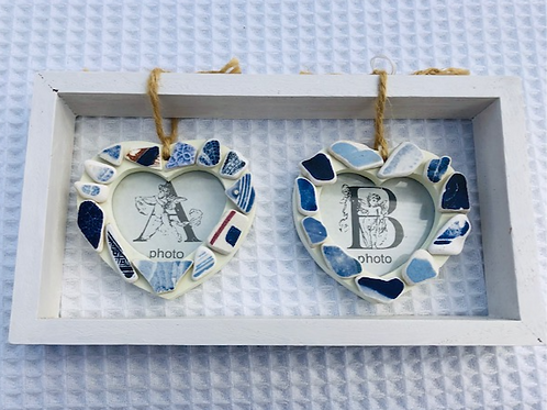 Blue Sea Pottery Double Heart Photo Frame