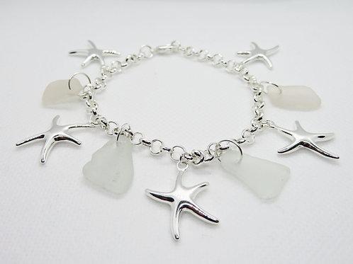 Scottish Sea Glass and Starfish Bracelet