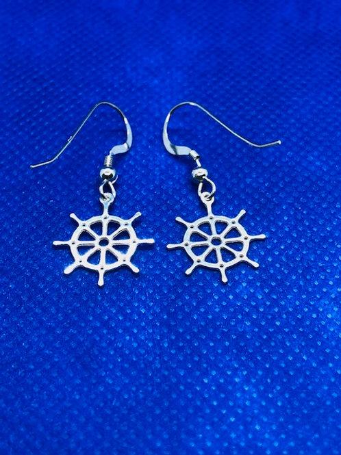 Ships Wheel Drop Earrings
