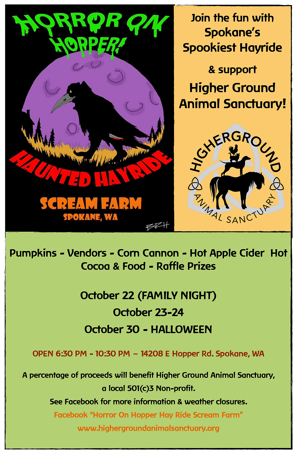 A portion of proceeds for this event will benefit Higher Ground Animal Sanctuary