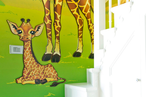 Savanna Room, a combination of mixed media. Mural artwork, drawings, Vinyl stickers, Smart Forex colored and painted cutouts.