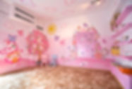 Photos of the animino Mushrooms and Fairies Room, a fun and colorful combination of mixed media. Mural artwork, drawings, Vinyl Stckers, Smart Forex colored and painted cutouts.