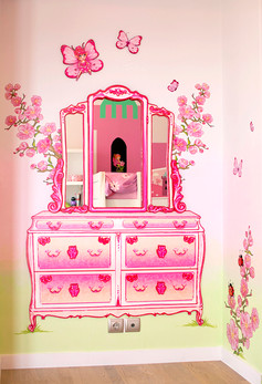 Princess and the Frog Room, a combination of mixed media. Mural artwork, drawings, Vinyl stickers, Smart Forex colored and painted cutouts.