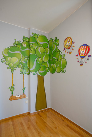 Toy Room, a combination of mixed media. Mural artwork, drawings, Vinyl stickers, Smart Forex colored and painted cutouts.
