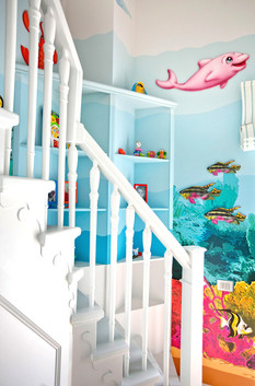 Coral Reef Room, a combination of mixed media. Mural artwork, drawings, Vinyl stickers, Smart Forex colored and painted cutouts.