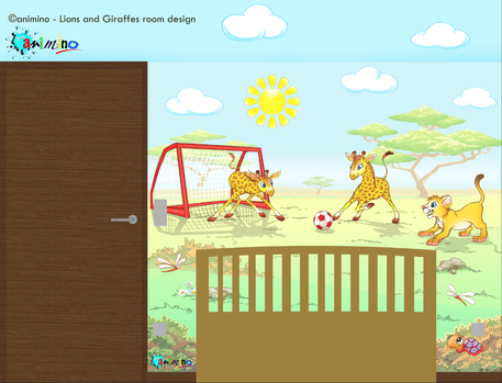 Blue Prints with the Final Concept Artwork and Layout of Lion Cubs and Gireffes Room.