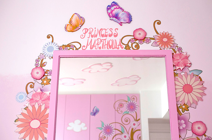 Mushrooms and Fairies Room, a combination of mixed media. Mural artwork, drawings, Vinyl stickers, Smart Forex colored and painted cutouts.