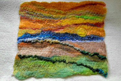 """Landscape #1. Completed with hand embroidery. Approx. 11"""" x 12""""  $200"""