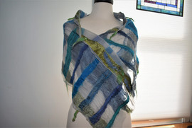 Lightweight Blue & Gold scarf/ wrap made with 100% silk and roving. Approx. 1' X 4'