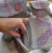 Small grey & purple clutch with inside pocket.