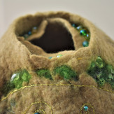 """Green & Tan vessel. Finished with hand embroidery & beading. Approx. 7"""" diam. X 5"""" high."""