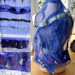Blue Nuno Scarf made with 100% silk with roving and prefelts. NFS