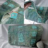 Green wool & silk clutch bag with inside pocket