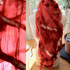 Red Scarf made with 100% silk, roving and prefelts. NFS