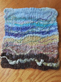 """Sandy Beach. Finished with hand embroidery. Approx 7"""" x 7"""" $175"""