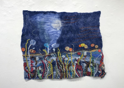 Moon Over the River. Finished with hand embroidery. Approx. 2.5' x 4' $500