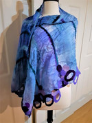 Blue Wrap with Circles-made with 100% silk and roving with prefelts. Approx. 2' X 4'
