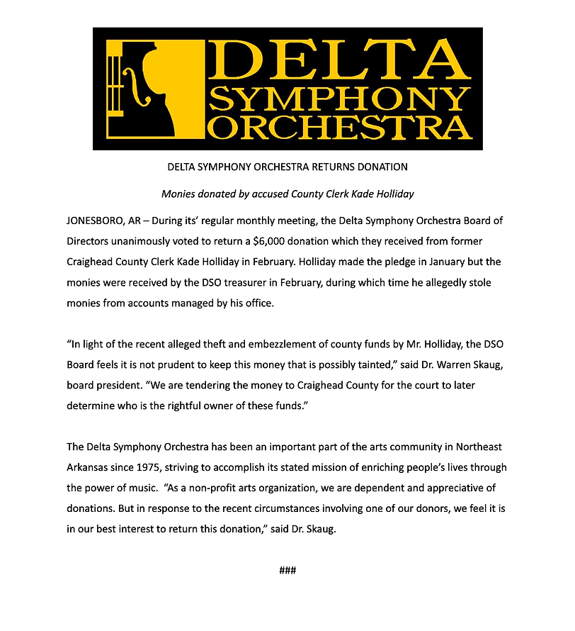 Holliday Donation Press Release