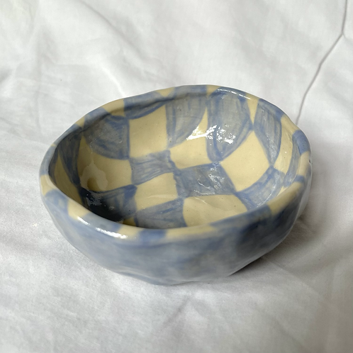 Lilac check small bowl