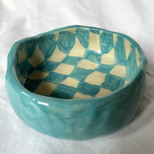 Turquoise check bowl