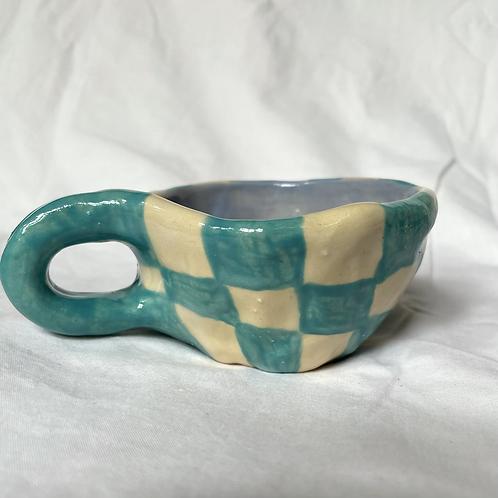 Turquoise check mug