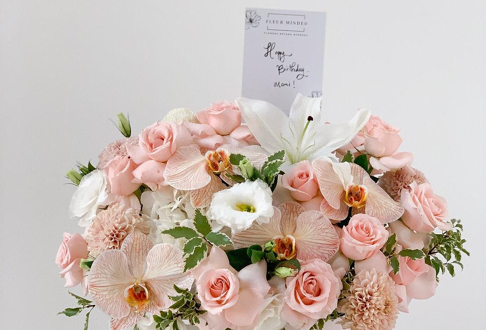 Signature Pastel Pink-Peach Midi Bloom Box | 100 AUD