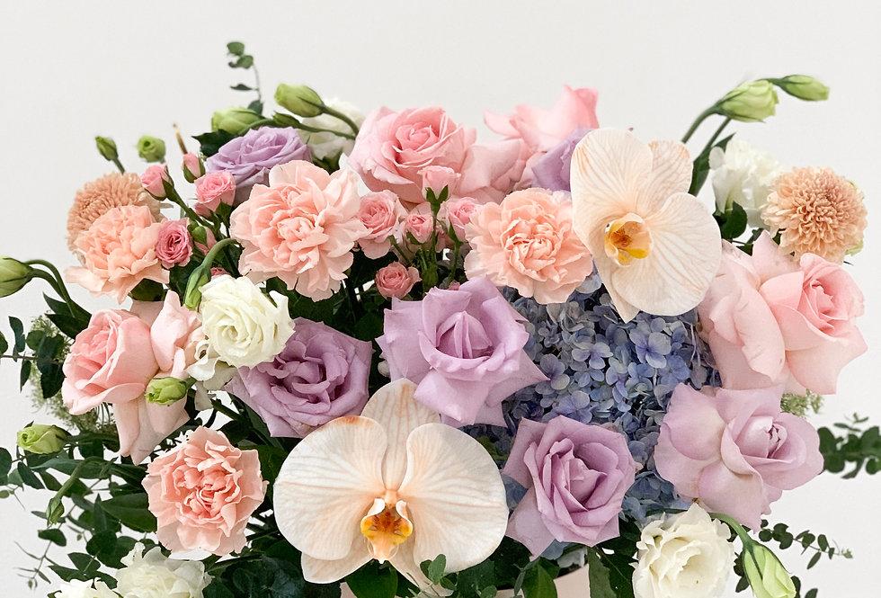 Pastel Peach-Lilac Midi Bloom Box | 100 AUD