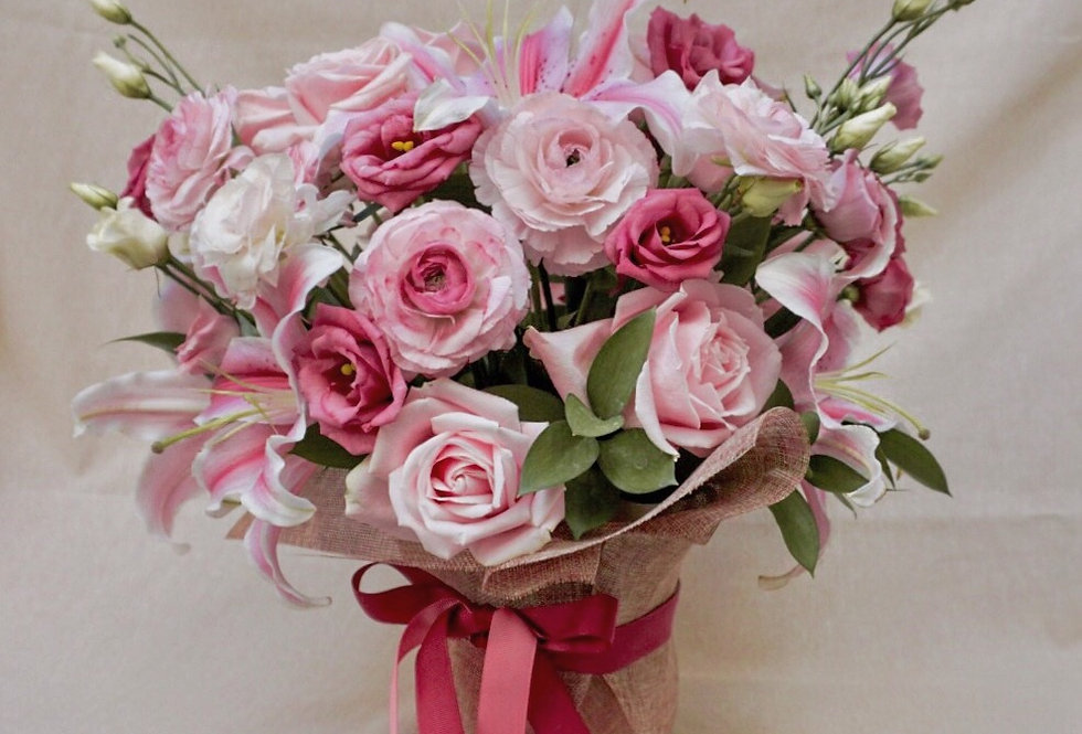 Potted Pink Rose Posy