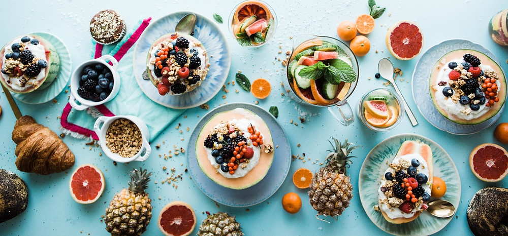 plates and bowls of delicious healthy superfoods