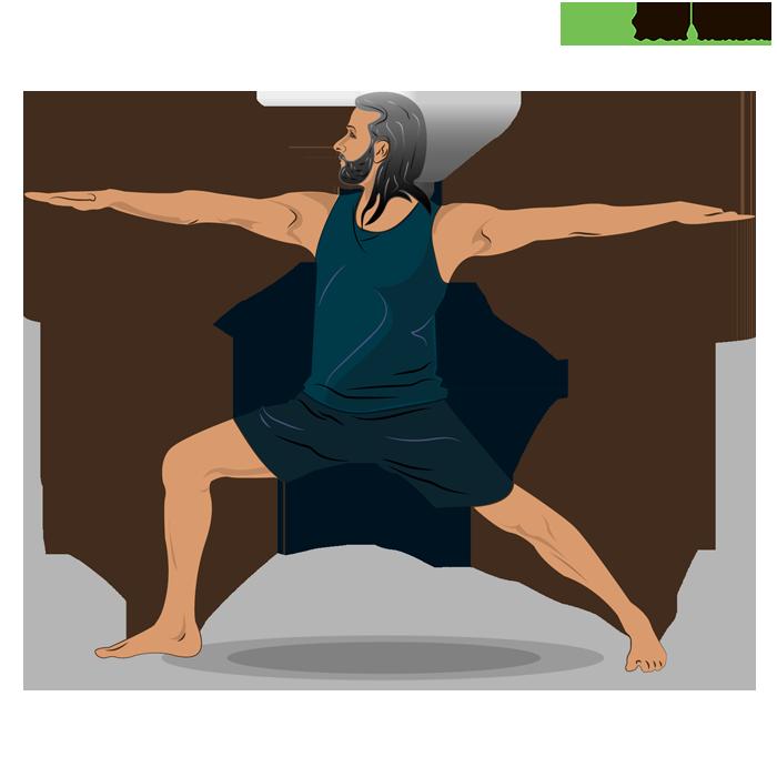 Indian man practicing warrior II yoga pose
