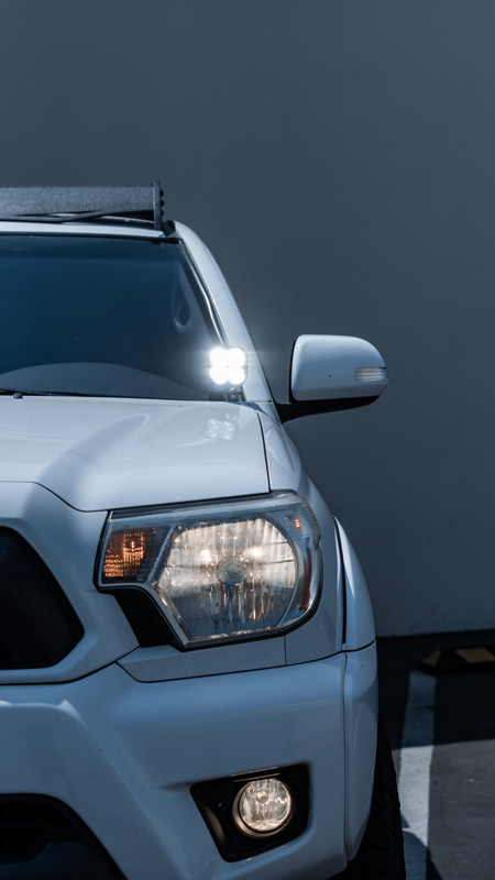 LED ditch lights installed on Toyota Tacoma by MDRN Retrofits
