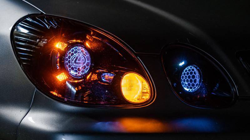 2004 Lexus GS300 headlights with switchback porsche panamera shroud installed at mdrn retrofits in costa mesa