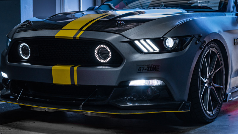 S550 Mustang GT with diode dynamics board demon eyes headlights at mdrn retrofits