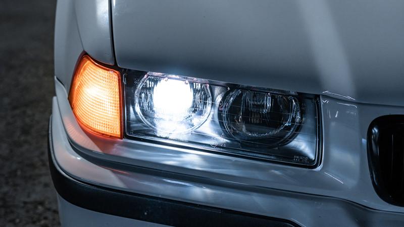 BMW E36 ellipsoids installed with Pro Package Headlight Retrofit at MDRN Retrofits