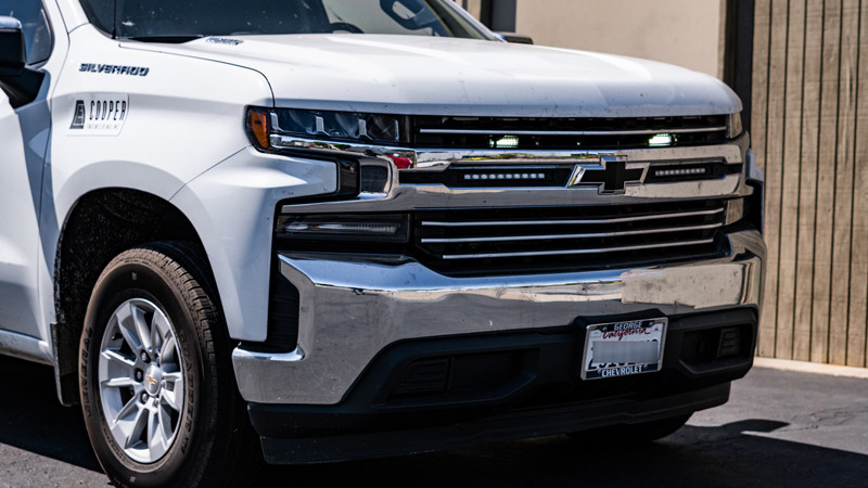 2020 Chevrolet Silverado Construction work truck with dual color strobes in the grille at mdrn retrofits