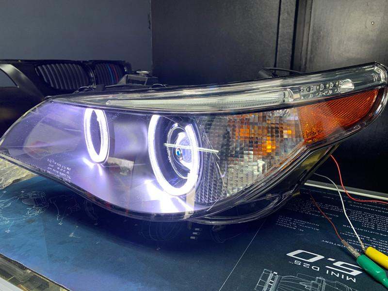 Orion v4 halos installed on a BMW E60 M5 headlights at MDRN retrofits
