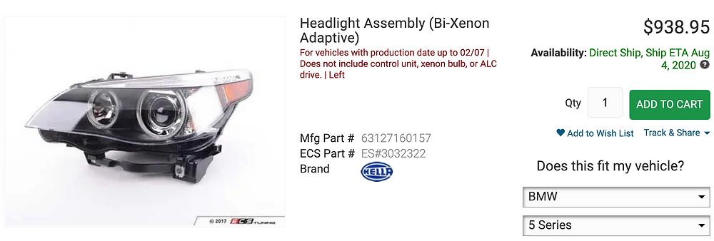 brand new OEM BMW E60 M5 headlights from ecs tuning