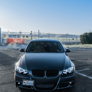 BMW E90 DTM Angel Eyes Halos Bavgruppe Headlight Retrofit by MDRN Retrofits in Orange County, CA