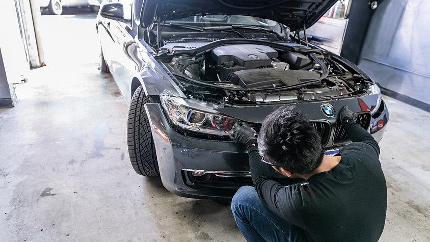 BMW F30 3 Series LED Headlight Bulb Install with halo projectors at MDRN retrofits