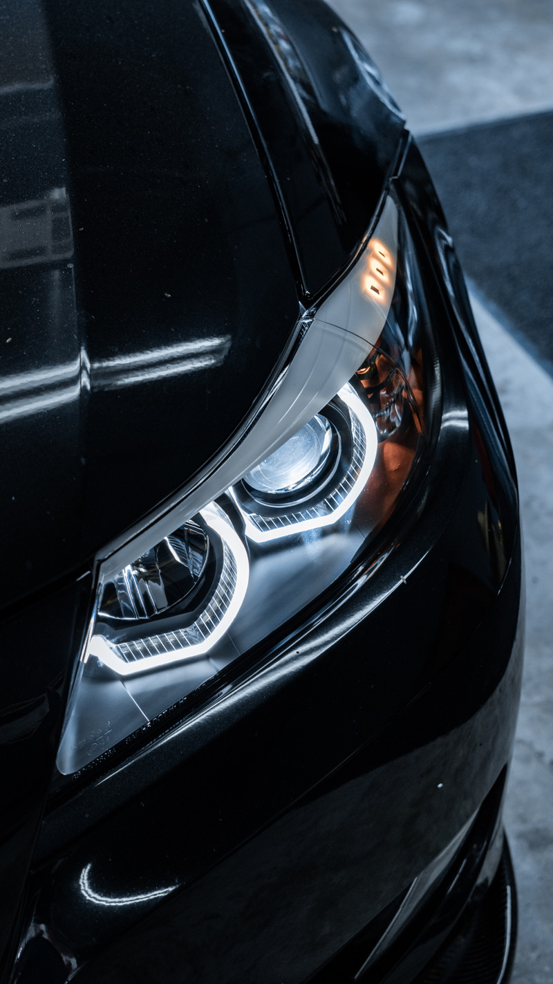 BMW E90 DTM Halo headlights close up at MDRN retrofits