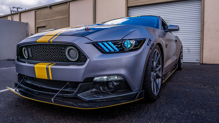 SEMA Show Mustang GT S550 with Custom Headlight Retrofit and LED Lighting from MDRN Retrofits