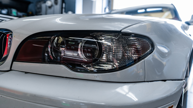 2004 BMW E46 headlights after restoration at mdrn retrofits