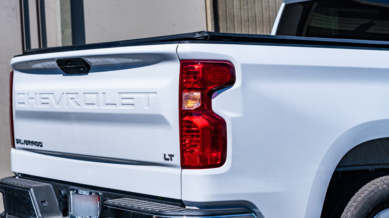 2020 Chevrolet Silverado Construction work truck with hide away strobe light in taillights at mdrn retrofits