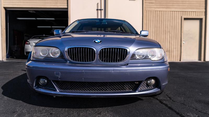 BMW E46 headlights and fog lights before restoration and retrofit at mdrn retrofits