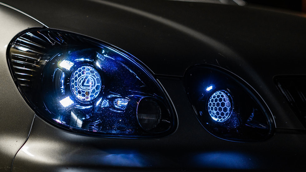 Close up of Lexus GS300/GS430 Elite S3 headlight retrofit by MDRN RETROFITS
