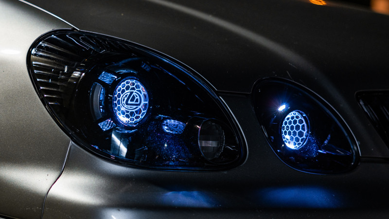 2004 Lexus GS300 headlights with profile prism demon eyes at mdrn retrofits in costa mesa