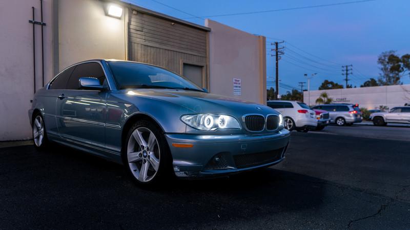 BMW E46 getting the a restoration and headlight retrofit at modern retrofits